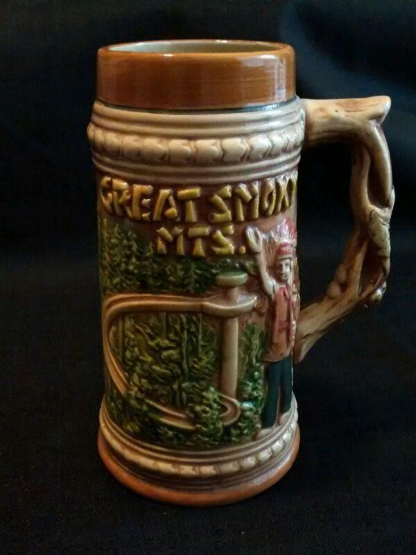 Vintage Great Smoky Mountains Cherokee Chief Black Bear Ceramic Stein Mug Cup