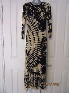 NEW Long Tie Dyed Dye Dress Black Cream Hippie Luxuriously Soft Stretch OS