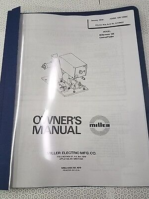 Miller Millermatic 10e Controlfeeder Owners Manual