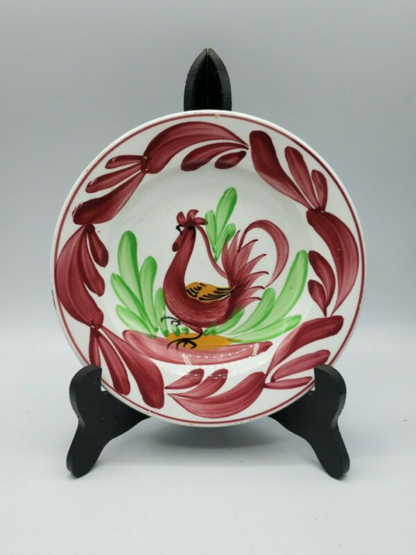 """Opaque Luneville France Faience Rooster Plate/Shallow Bowl 1800s Mark 7-1/8"""""""