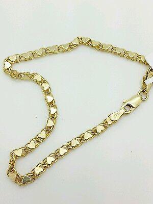 """14k Solid Yellow Gold Heart Link Bracelet Chain 7"""" 2.9mm Women"""