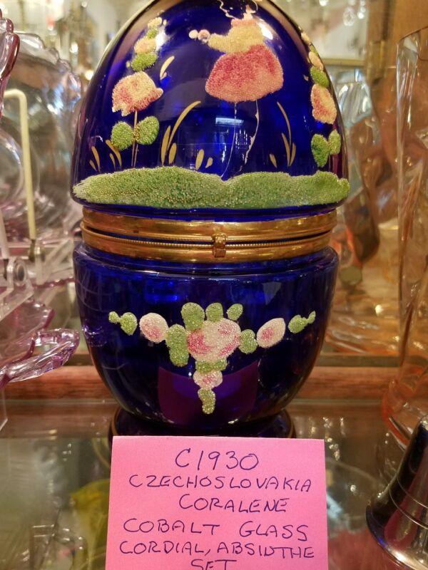 Vintage Czechoslovakia coralene cobalt cordial,absinthe set,Art Deco, C1920
