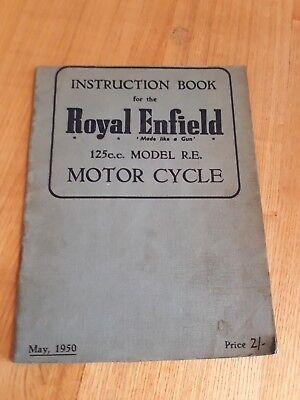 Royal Enfield 125cc Model RE Instruction handbook owners manual motorcycle 1950