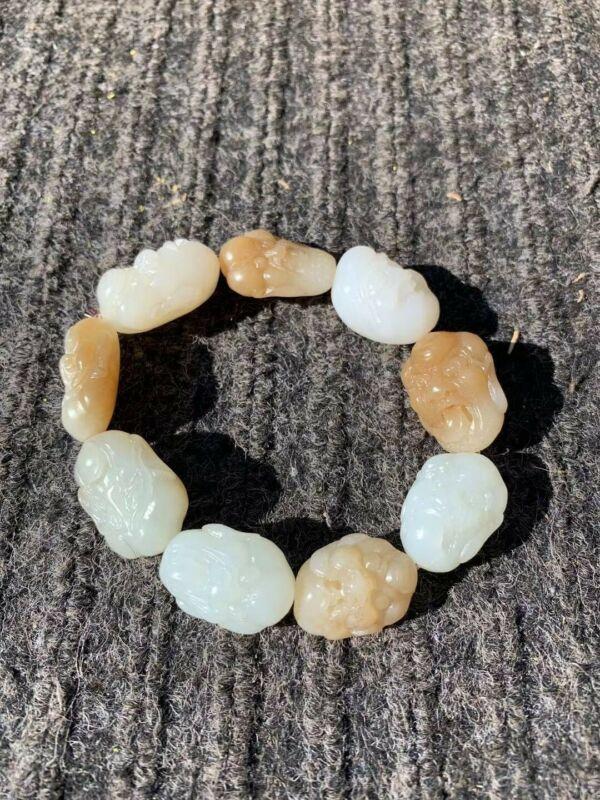 Hetian Jade Carved Arhat Bracelet