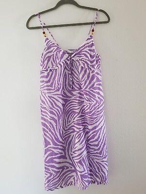 Purple Zebra Dress (Diane Von Furstenberg DVF purple zebra Swim Cover up Dress Size M )