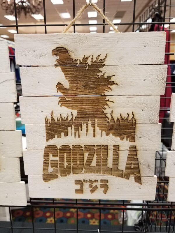 Godzilla custom wood sign poster