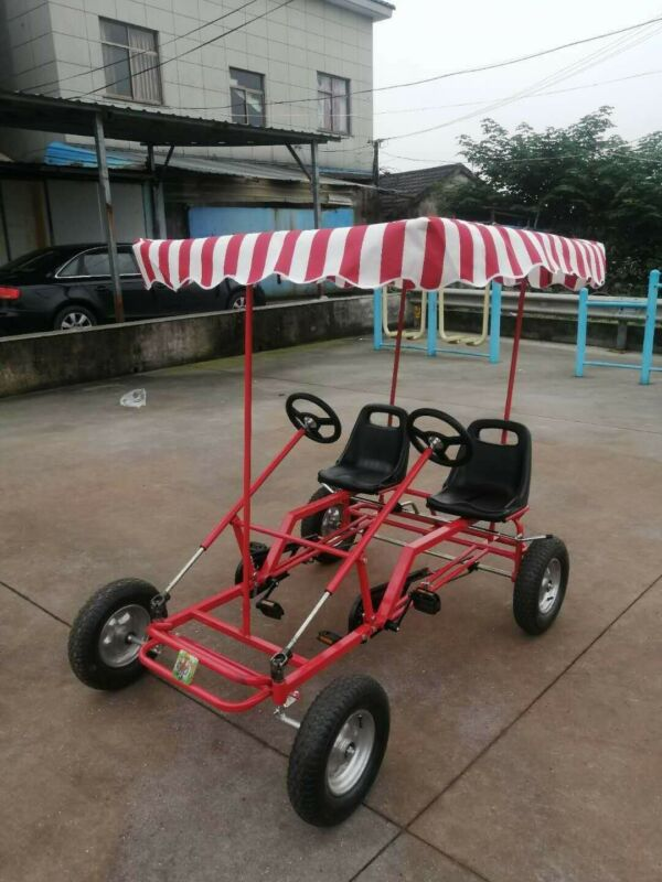 Four Wheel  Bike, 2 Person Bicycle, Family Pedal Bike, Go Kart Bike With Canopy