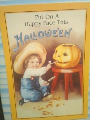 VINTAGE PHOTO POST CARD  PUT ON A HAPPY FACE THIS - This Halloween
