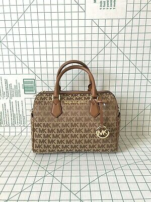 NWT Michael Kors Bedford Large Duffle Jacquard Fabric MK Satchel Crossbody Bag