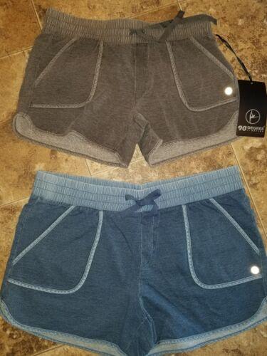 New Womens 90 Degree Reflex Comfy Shorts Heather Denim Blue