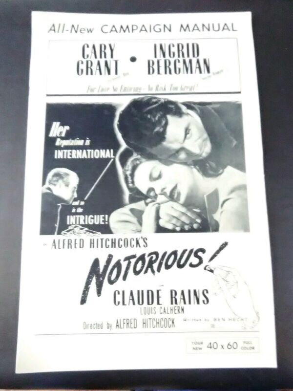 1946 ALFRED HITCHCOCK MOVIE PROGRAM NOTORIOUS STARS GRANT, BERGMAN, RAINS RARE!