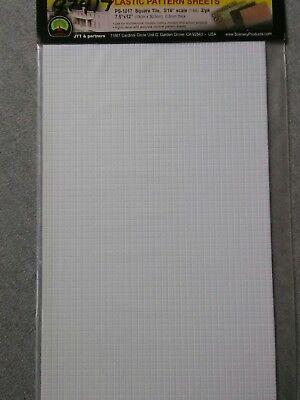 "JTT Plastic Pattern Sheets PS-1017 Square Tile, 3/16"" Scale 7.5""x12"" 2-Pack ~ TS"