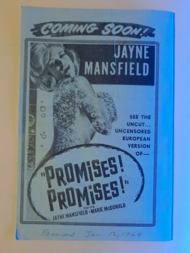 1964 Tri- City Drive-In Theatre Herald Forest City NC Promises! Promises! Jayne