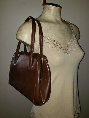 1950s Handbags, Purses, and Evening Bag Styles Vintage 1950's frame bag handbag retro bombshell purse brown faux leather vegan $48.74 AT vintagedancer.com