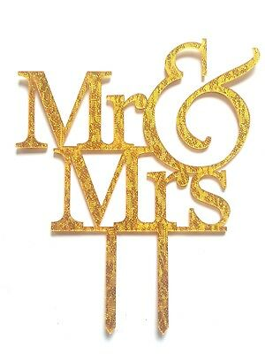 GOLD MR & MRS WEDDING CAKE TOPPER-AND-GLITTERY ACRYLIC-SILHOUETTE-DECORATION ()