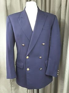 DAKS Simpson of Piccadily 100% Wool Double Breasted Squadron Blazer C38 EXC COND