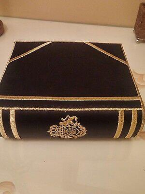 Ivana Trump Black With Gold Crest Book Design Evening Bag   Purse   Never Worn