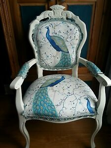 LOUIS FRENCH STYLE CARVER BOUDOIR  CHAIR IN PEACOCK FABRIC WITH CUSHION COVER