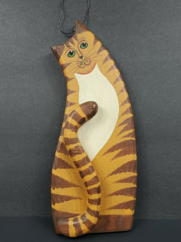 Hand Painted Wood Brown Tabby Cat Hanging Wall Plaque Art Country Folk Rustic
