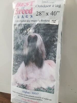 New 28 X 40 Best Of Breed AFGHAN 80086 Dog Indoor Outdoor Flag Barbara Augello