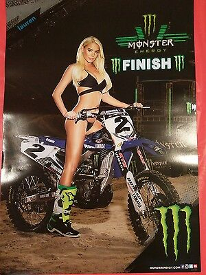 """MONSTER Energy (22 x 15.5) Lauren """"Dirty Girl on a Dirt Bike"""" LAST 10 LEFT!!"""