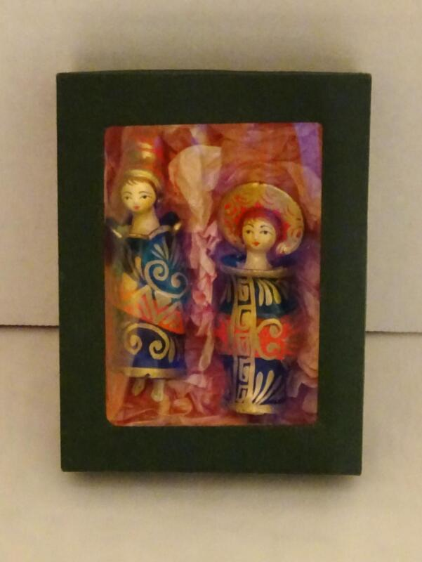 VINTAGE Set of 2 Ceramic ASIAN LADY Bell Ornaments w/ Moving Head & Clapper Feet