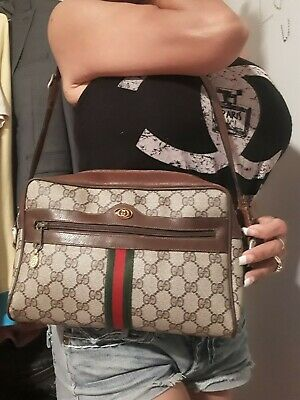 Vintage Gucci Ophidia Red & Green Striped Leather Large  Bag Purse please read