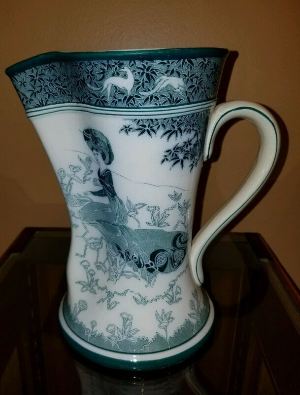 """Antique 1907 Buffalo Pottery Gloriana 9"""" Pitcher in Blue and White - Art Nouveau"""