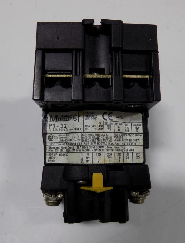 KLOCKNER MOELLER 30A 600VAC MANUAL MOTOR CONTROLLER P1-32