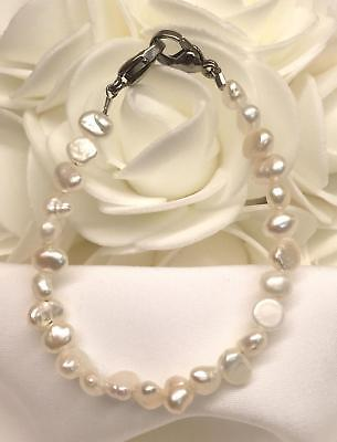 White Freshwater Pearl Medical ID Alert Replacement Bracelet! (Freshwater Pearls Canada)