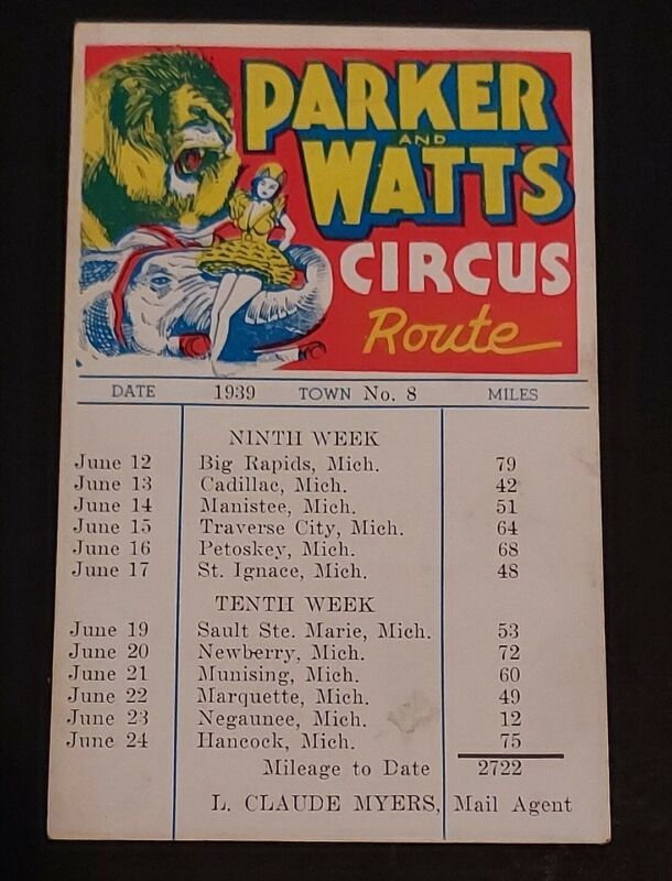 Parker and Watts 1939 Circus Route Card Michigan