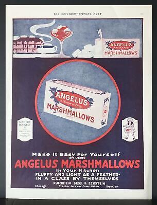 1920 Angelus Marshmallows Jello Hot Chocolate Cocoa Cake Vintage Ad