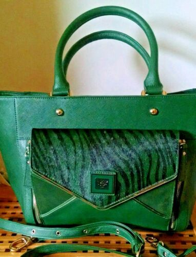 Sharif Ivy Green Saffiano Leather Italian Satchel Handbag Purse NWOT