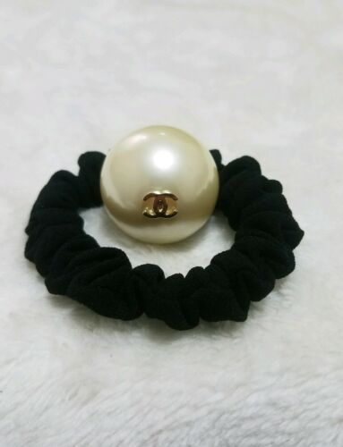 CHANEL Pearl Hair Tie Scrunchie Gold CC Bracelet New Authentic Stamped