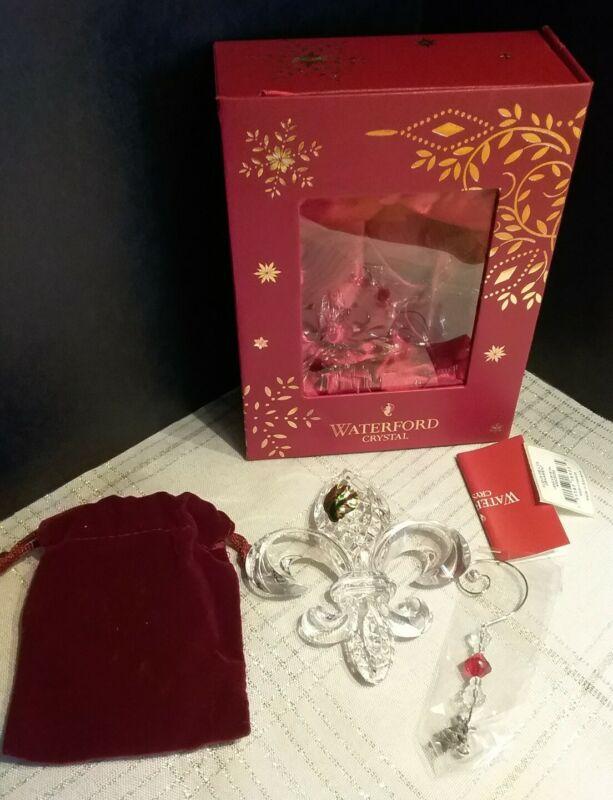 Waterford Crystal $60 Clear 2015 Fleur-de-Lys Crystal Christmas Ornament NIB