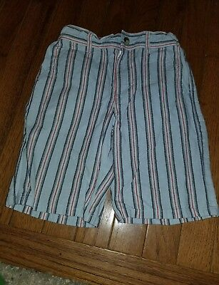 Janie & Jack  Boys linen Shorts red white Blue Stripes 4t 4th of July