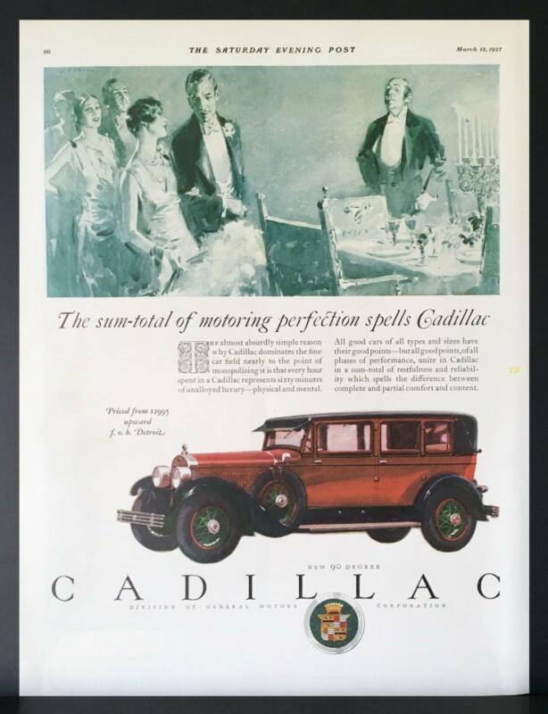 1927 Cadillac 4-Door Sedan Motoring Perfection Luxury Elegant Dining Print Ad
