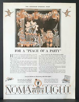 Halloween Party Ad (1928 NOMA Color Electric Lights Halloween Party Witch Jack O' Lantern Vintage)