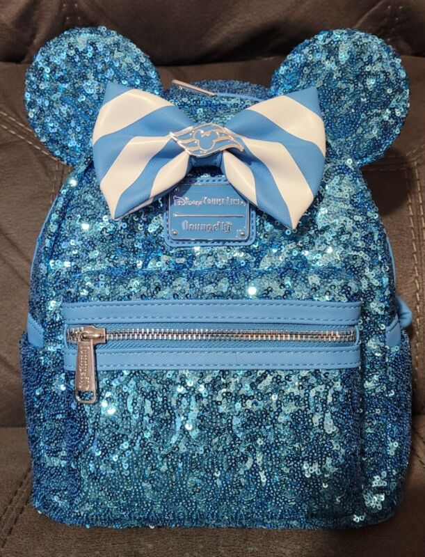 NWT Disney Cruise Line 2021 DCL Loungefly Teal Turquoise Sequined Mini Backpack
