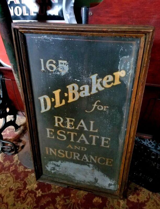 1910s Hartford Ct D. L. Baker Edwardian Insurance Gold Leaf Street Billboard