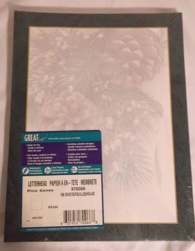 Great Papers! Pine Cones Winter Holiday Letterhead 100 Printer Paper Sheets