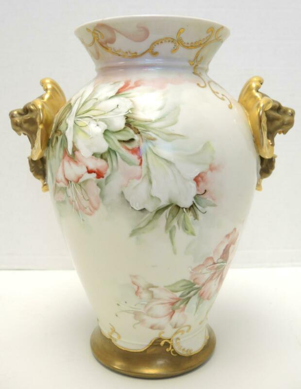 """Rare Antique 11 1/4"""" Tall D&C Limoges France Hand Painted Day Lilies Vase"""