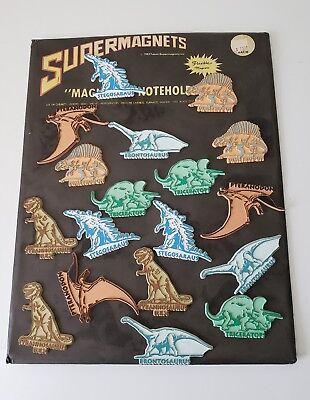 Vintage Lot Dinosaur Flexible Rubber Refrigerator Magnets Store Display Card '83