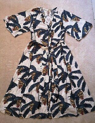 DESMOND DEMPSEY HM H&M Linen Blend Kaftan Midi Dress Palm Tree Small