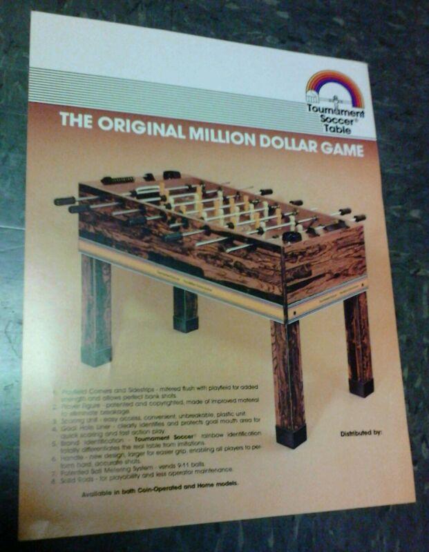Tournament Soccer Table THE MILLION DOLLAR GAME flyer- good original