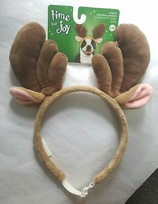 DOG ANTLERS! Petco Time for Joy REINDEER HAT EARS Headpiece PET CLOTHES New L/XL