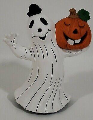 Vintage Ceramic Hand Painted Waving Ghost With Jack o'Lantern Pumpkin
