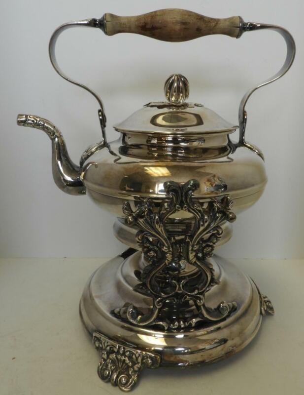 Ornate Silver on Copper Tilting Tea Kettle