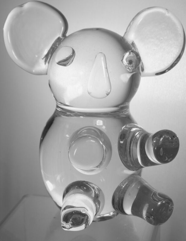 PANDA BEAR PAPERWEIGHT FIGURINE STATUE CLEAR ART GLASS