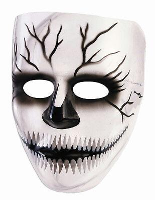 Transparent Creepy Grin Cracked Skull Plastic Adult Mask - Transparent Masks